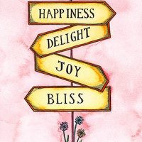 $20.00 Happiness Street Sign 8 x 10 Print by paintandink on Etsy