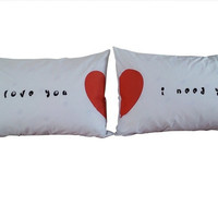 "Couple Pillow Cases set - ""I love You"" Valentine for him & her Bedroom"
