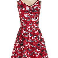 ModCloth Critters Mid-length Sleeveless A-line Places to Go, People to See Dress in Scottie