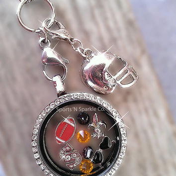 Football Floating Keepsake Glass Living Locket