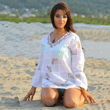 White lace patchwork angel sleeve beach cover tunic top dress
