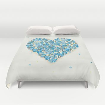 forget-me-nots heart Duvet Cover by Migmig
