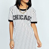 Rosie Striped Chicago T-Shirt Dress