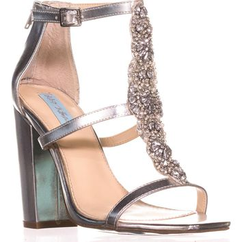 Blue by Betsey Johnson Lydia Dress Sandals, Silver/Metallic, 8.5 US