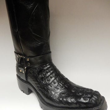 Safari Harness Crocodile Biker Boots