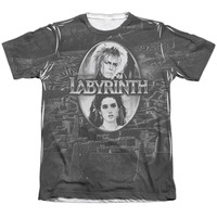 LABYRINTH/MAZE-ADULT POLY/COTTON S/S TEE-SUBLIMATE WHITE