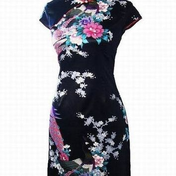 Blue, Black, Pink, Red White Floral Silk Collection Cheongsam One-piece Chinese Qipao Dress