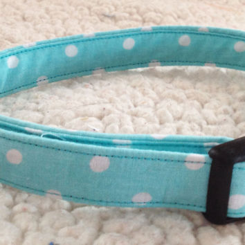 Aqua Girl Dog & Cat Collar with White Polka Dots