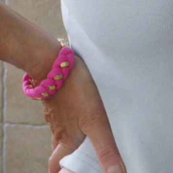 Neon Pink Jersey Bracelet with Gold Tone Hex Nut