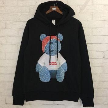 Supreme x LV Louis Vuitton Winter New Products plus velvet sweater men and women with hooded jacket Black