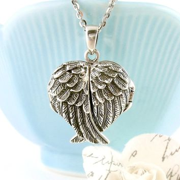 Ornate Folded Angel Wings Heart Locket Necklace