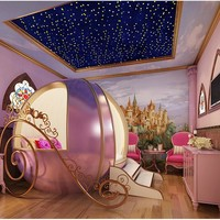 Pink Colour Children Furniture Creative Girl Bed Bedroom Real Wood Round Bed