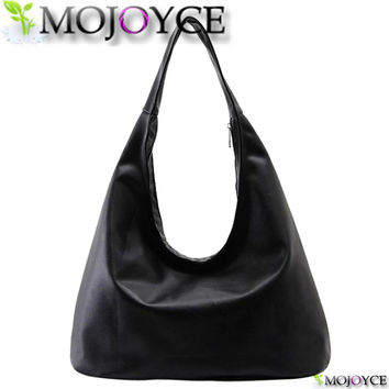 MOJOYCE Brand 2016 New Women's Handbags Luxury Shoulder Bags Hobos Designer Hand Bags For Women Black PU Leather Bags Ladies