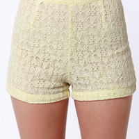 Lost Blast Beige and Yellow Lace Shorts