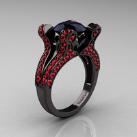 Athena - French Vintage 14K Black Gold 3.0 CT Black Diamond Rubies Pisces Wedding Ring Engagement Ring Y228-14KBGRBD