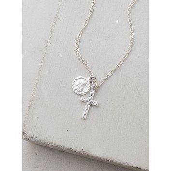 Saint + Cross Charm Necklace - Silver