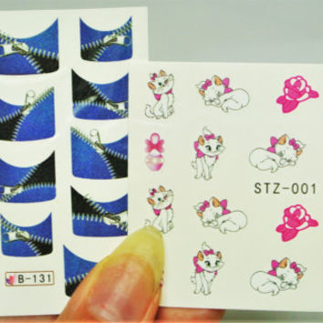 2 sheets Marie Cat Nail Decal, cat Nails, Zipper French Nail Tips, water decals, French Nail, Nail Art, Nail Design, Zipper Nails Nail Decal