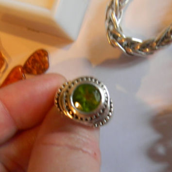 Barse sterling Silver Peridot Ring.925 Etruscan style.August Birthstone,Deep Green round Stone raised high up on Finger. Ladies Size 7