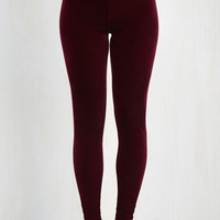 80s Skinny City Adventure Velvet Leggings in Merlot by ModCloth