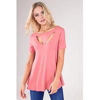 Cutout Neckline Short Sleeve Flared Top - Coral