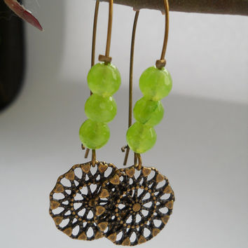 Faceted jade dangle earrings, apple green jade beads, jade jewelry, antique brass, spring color jewelry, spring earrings, jade earrings