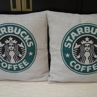 100 percent Natural Linen, eco Friendly and recyclable Burlap Throw Pillow Cover: For Starbucks lover