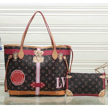 Louis Vuitton Women Shopping Leather Tote Handbag Shoulder Bag Two Piece Set