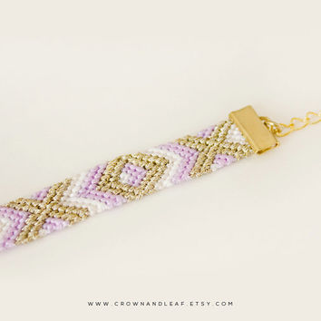 Soft Lilac / XO / Gold Chain Friendship Bracelet / Woven Bracelet / Purple Bracelet / Gold Chain Bracelet / Braided Bracelet / Bridesmaid