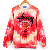 """Stussy"" Women Men Lover Multicolor Print Tie Dye Top Pullover Sweater"