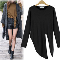 Plain Tie-Waist Loose  Long Sleeve T-Shirt