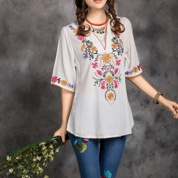 2016 Hot Sale Vintage Ethnic Floral EMBROIDERED BOHO Mexican Peasant Tunic Blouse Gypsy DRESS Free Size Free Shipping