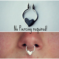 clip on septum ring sterling silver heart, faux septum ring, fake septum ring, fake nose ring, faux nose ring, silver nose ring