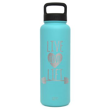 Premium Stainless Steel Water Bottle, Live Love Lift Design, Extra Lid, 40oz (Caribbean Teal)