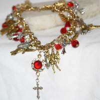Ruby Angel Medals Religious Handcrafted Charm Bracelet, Catholic, Wings, One of a kind