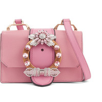 Miu Miu - Miu Lady embellished smooth and textured-leather shoulder bag