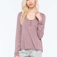 Volcom Lived In Womens Henley Burgundy  In Sizes