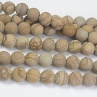 matte wooden jasper beads - matte jasper beads - light Khaki gemstone beads - natural jasper beads supplies -4mm to 12mm beads  -15inch
