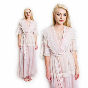 Antique Edwardian Dress - Pink Cotton Titanic Era Gibson Girl 1910s- Small