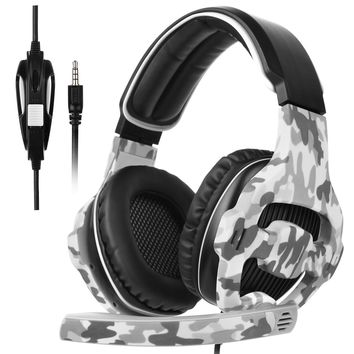 SADES New Arrival SA810Plus Over-ear Stereo Gaming Headset Headband Headphones with Hifi Mic Control-remote Noise-reduction for PC Computers/Notebooks/New Xbox One/PS4(Camouflage)