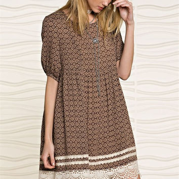 Printed Woven Dress - Mocha