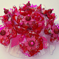 Flowered Cake Topper in Red and Pink inspired by  Chihuly  glass, Recycled Plastic,  Wedding, Birthday, Valentine, tabletop, home decor