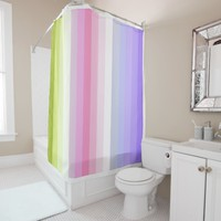 Pale Rainbow Stripes Bath Decor Shower Curtain