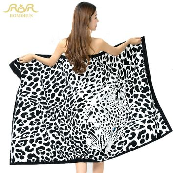 ROMORUS Fashion Leopard 100*180cm Extra Large Absorbent Microfiber Bath Beach Towel Fast Drying Stripe Printing Towels for Adult
