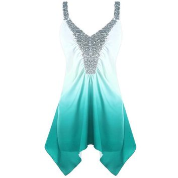 Ships From Usa Fashion Sequins Ombre V-Neck Print Tank Top Plus Size 5Xl Regular Fit Sleeveless