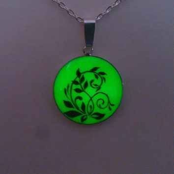 Green Glowing Necklace, Fluorescent Glowing Jewelry,  Glow in the Dark flower, Gifts for Her, Hand painted, Gift for her OOAK