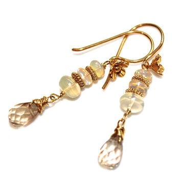 Oregon Sunstone Earrings Ethiopian Opal Earrings Long Earrings Gemstone Jewelry