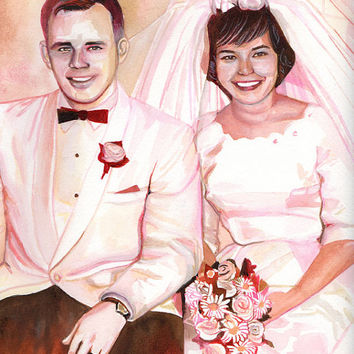 SPECIAL 50 WEDDING ANNIVERSARY gift for parents / grandparents - Sepia couple watercolor portrait