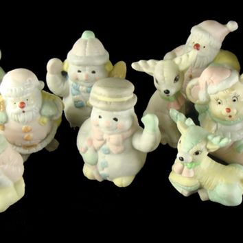 Club Pack of 144 Pastel Snowman  Deer  Santa Claus and Mouse Christmas Figurines