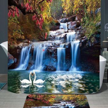 PEAP78W 180*150cm 1Pcs Shower Curtains Swans Flowers Cascade Design Water Resistance Fabric Polyester Home Bathroom Curtains And Rug Set