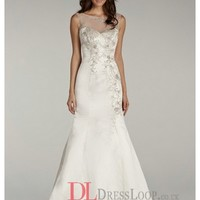 Beaded Bodice With Illusion Bateau Neckline Satin Trumpet Bridal Gown LL4402